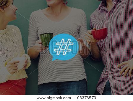Hashtag Icon Social Media Blog Post Concept