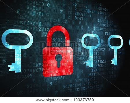 Protection concept: Padlock And Key on digital background