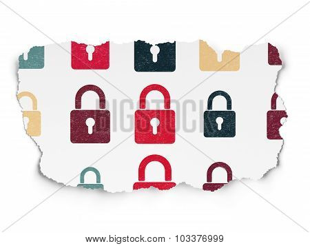 Privacy concept: Closed Padlock icons on Torn Paper background