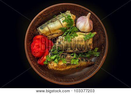 Smoked Fish Mackerel With Vegetables And Garlic