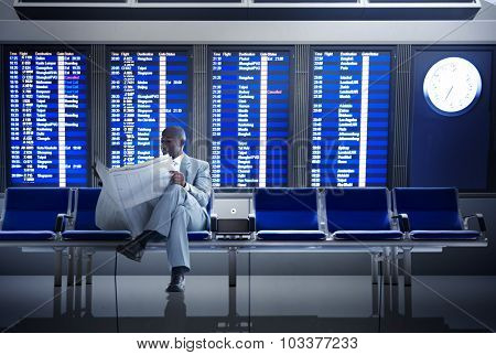 Businessman Airport Business Travel Flight Waiting Concept