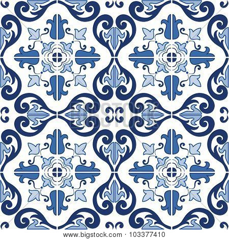 Traditional ornate portuguese tiles azulejos seamless pattern. Vector illustration.