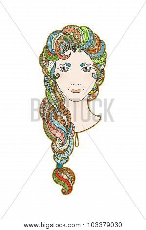 Beautiful girl with intricately patterned, zentangle braid and bright eyes. Vector portrait. Rainbow