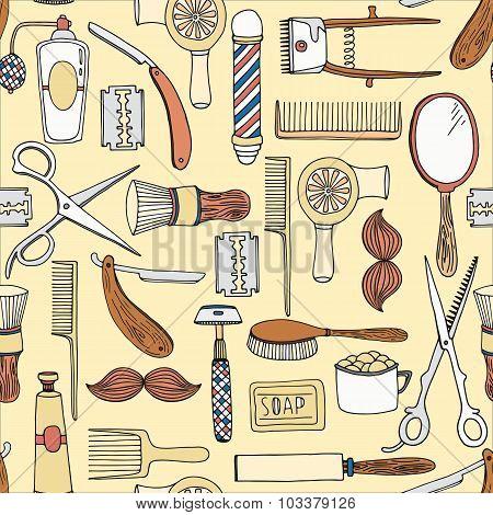 Vintage barber shop vector seamless pattern
