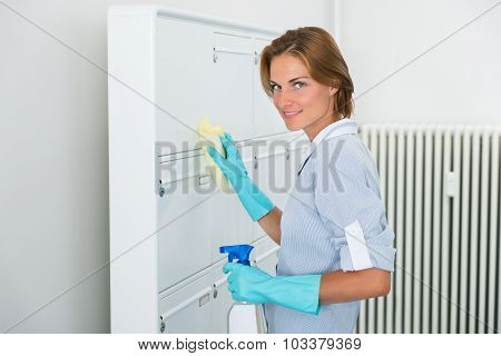Female Worker Cleaning Mailboxes