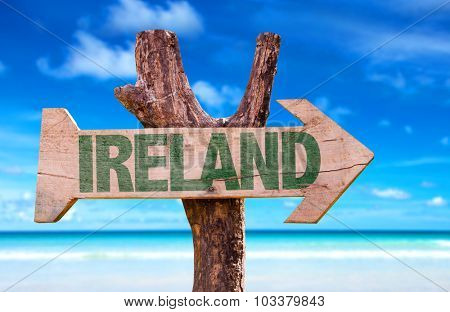 Ireland wooden sign with ocean background
