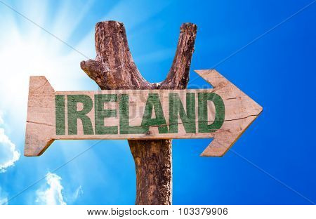 Ireland wooden sign with sky background