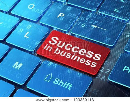 Finance concept: Success In business on computer keyboard background
