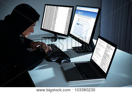 Male Hacker Using Computers