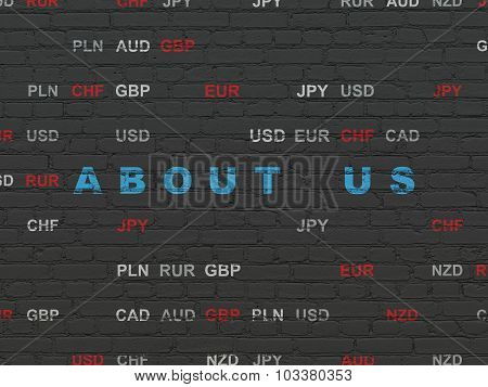 Finance concept: About us on wall background