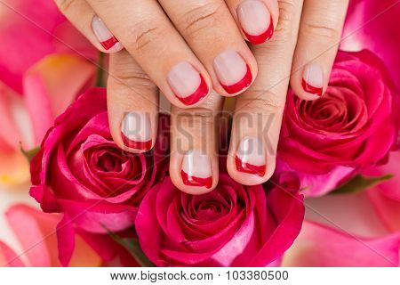 Hands With Manicured Nail Varnish Placed On Roses