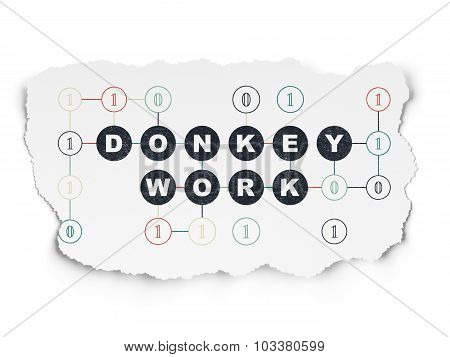 Finance concept: Donkey Work on Torn Paper background