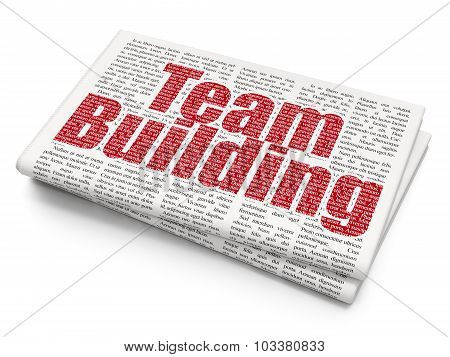 Business concept: Team Building on Newspaper background