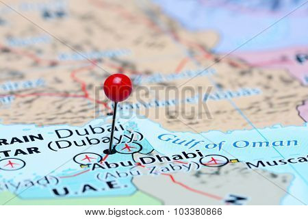 Dubai pinned on a map of Asia