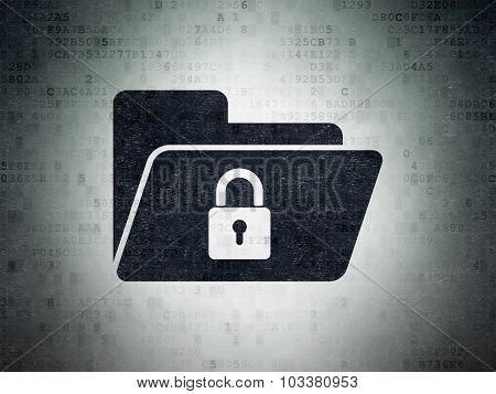 Finance concept: Folder With Lock on Digital Paper background