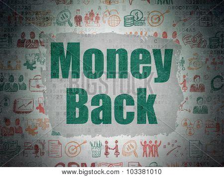 Business concept: Money Back on Digital Paper background