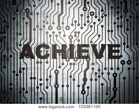Business concept: circuit board with Achieve