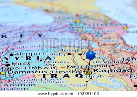 Baghdad pinned on a map of Asia