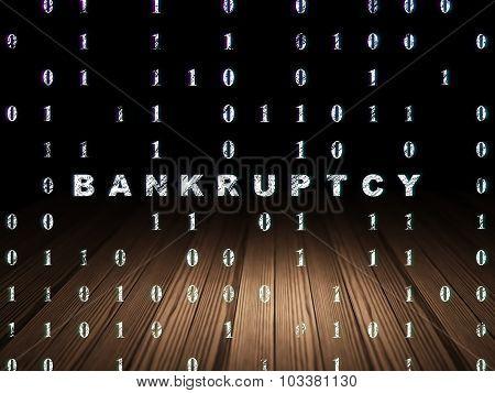 Business concept: Bankruptcy in grunge dark room