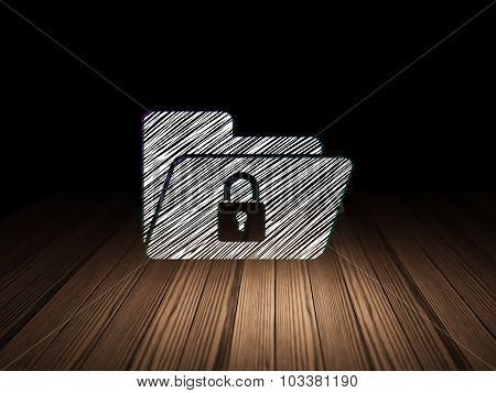 Finance concept: Folder With Lock in grunge dark room
