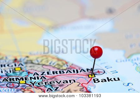 Baku pinned on a map of Asia