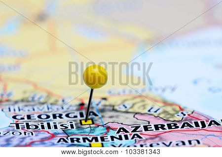 Tbilisi pinned on a map of Asia