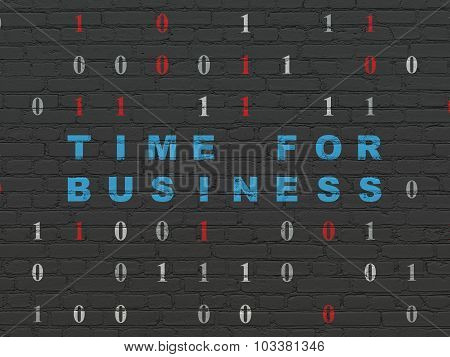 Finance concept: Time for Business on wall background