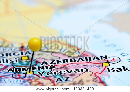Armenia pinned on a map of Asia