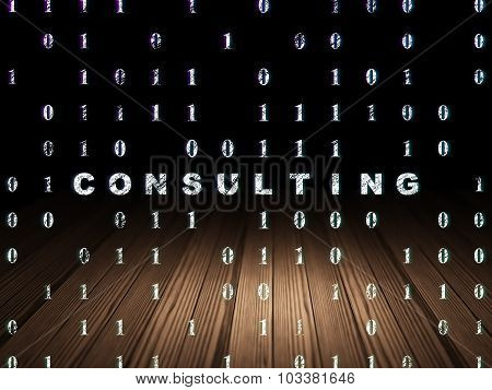 Finance concept: Consulting in grunge dark room