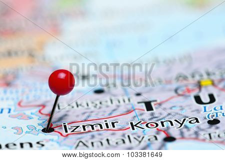 Izmir pinned on a map of Asia