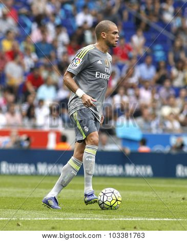 BARCELONA - SEPT, 12: Pepe Lima of Real Madrid during a Spanish League match against RCD Espanyol at the Power8 stadium on September 12 2015 in Barcelona Spain