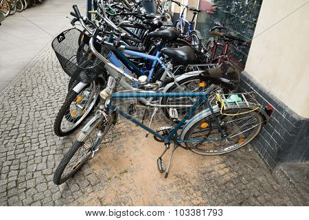 Group Of Bikes In A Parking Lot