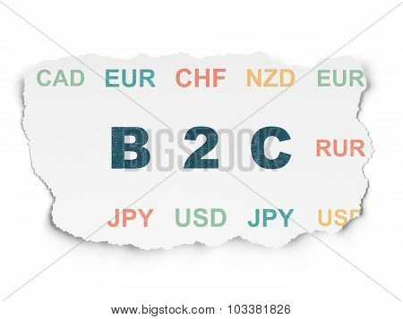 Finance concept: B2c on Torn Paper background