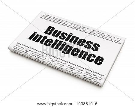 Finance concept: newspaper headline Business Intelligence