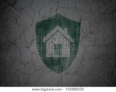 Finance concept: Shield on grunge wall background