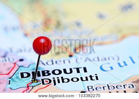 Djibouti pinned on a map of Asia