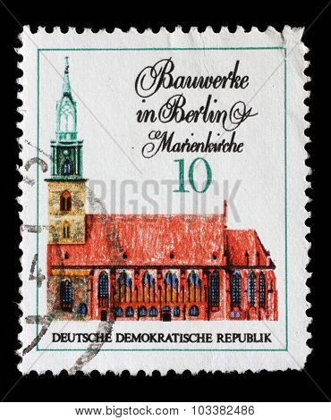 GDR-CIRCA 1971: A stamp printed in GDR from the Famous Buildings in Berlin issue shows Marienkirche, circa 1971.