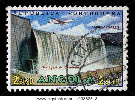ANGOLA - CIRCA 1965: a stamp printed in Angola shows Cambambe Dam, Cambambe Hydroelectric Power Station on Kwanza River, circa 1965