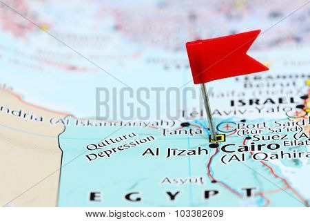 Cairo pinned on a map of Asia