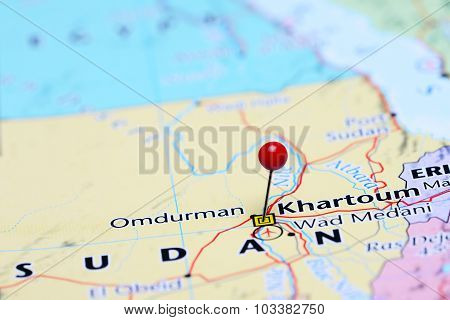 Khartoum pinned on a map of Asia