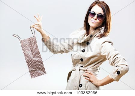 Disappointed Becouse Of Gift, Woman Holding Shopping Bag