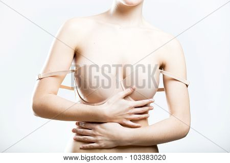 Young Woman With Droping Bra Strap, Temptation