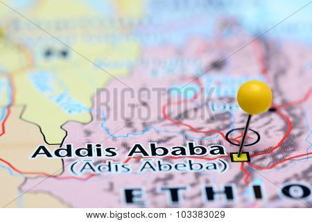 Addis Ababa pinned on a map of Asia