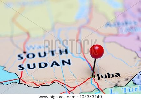 Juba pinned on a map of Asia