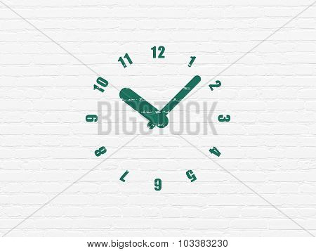 Time concept: Clock on wall background
