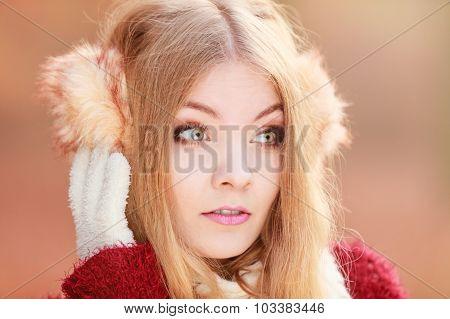 Pretty Gorgeous Woman In Earmuffs.