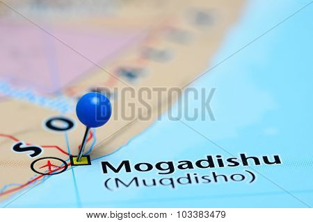 Mogadishu pinned on a map of Asia