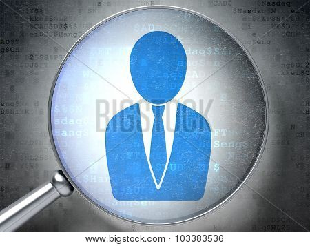 Marketing concept: Business Man with optical glass on digital background