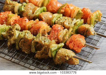Chiocken Tikka kebob on skewers ready for grilling