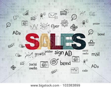 Advertising concept: Sales on Digital Paper background